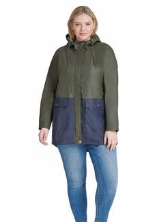 Levi's Ladies Outerwear Women's Plus Size Midlength Rubberized PU Swing Rain Parka Jacket