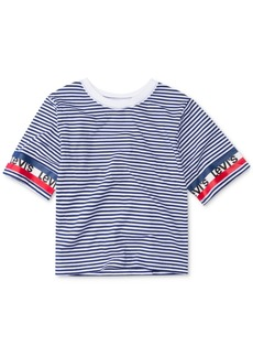 Levi's Little Girls Striped Logo-Sleeve Cropped Cotton T-Shirt