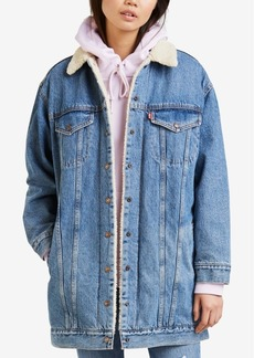 Levi's Long Sherpa-Lined Trucker Jean Jacket