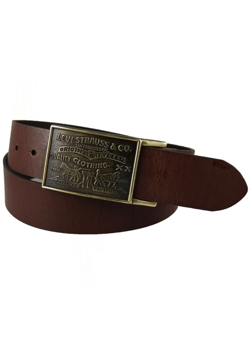 Levi's Men's 1 1/2 in.Plaque Bridle Belt With Snap ClosureBrown