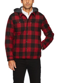 Levi's Men's Buffalo Plaid Two Pocket Hooded Shirt Jacket red
