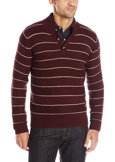 Levi's Men's Chambers Striped Quarter Button Mock Sweater