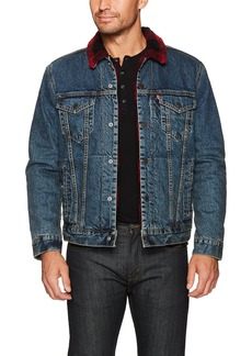 Levi's Men's Cotton Sherpa Trucker Jacket Picnic Trucker (Red and Black Sherpa) XXL