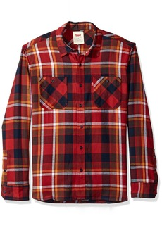 Levi's Men's Cubitt Long Sleeve Cotton Flannel Shirt red Dahlia