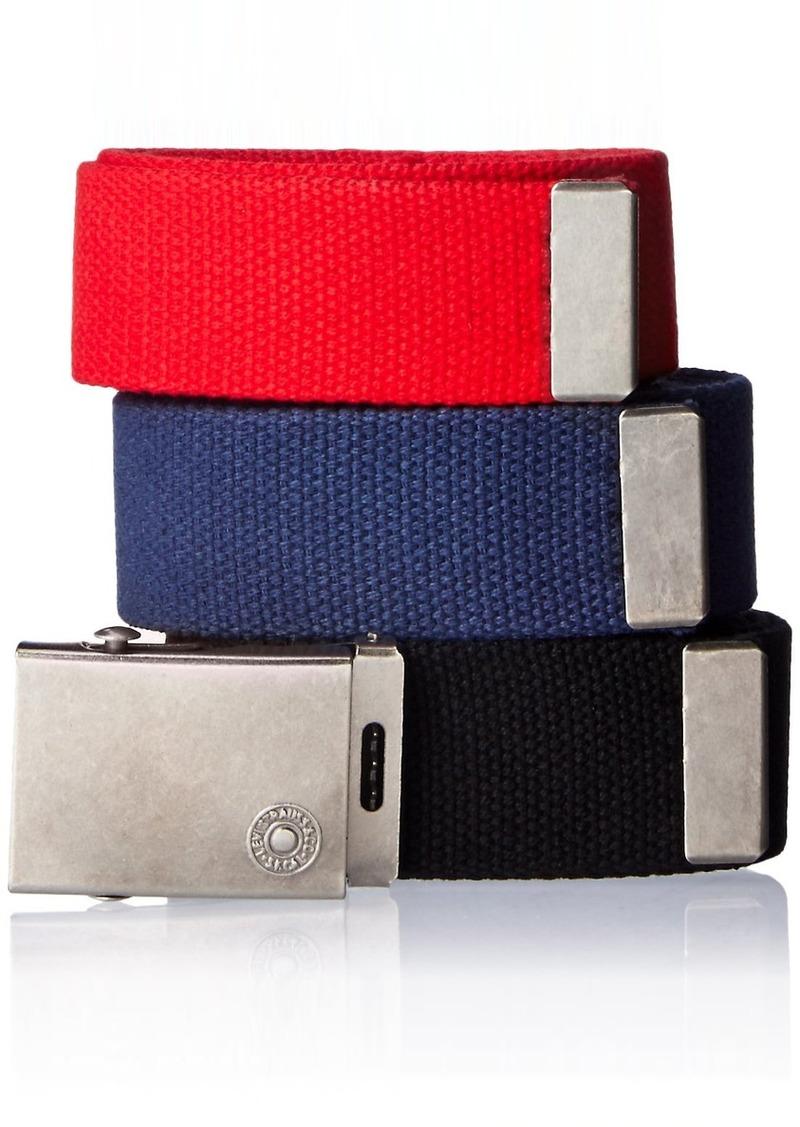 Levi's Men's Cut To Fit 3 Pack Web Belt With Buckleblack/red/blue