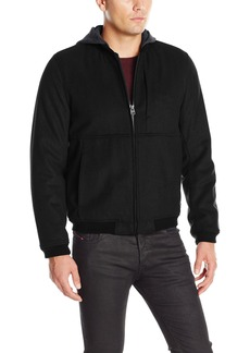 Levi's Men's Fashion Modern Varsity Bomber Jacket with Attached Hood  L