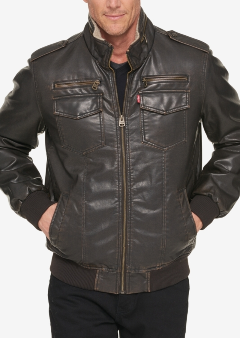 Levi's Men's Big & Tall Faux Leather Aviator Bomber Jacket