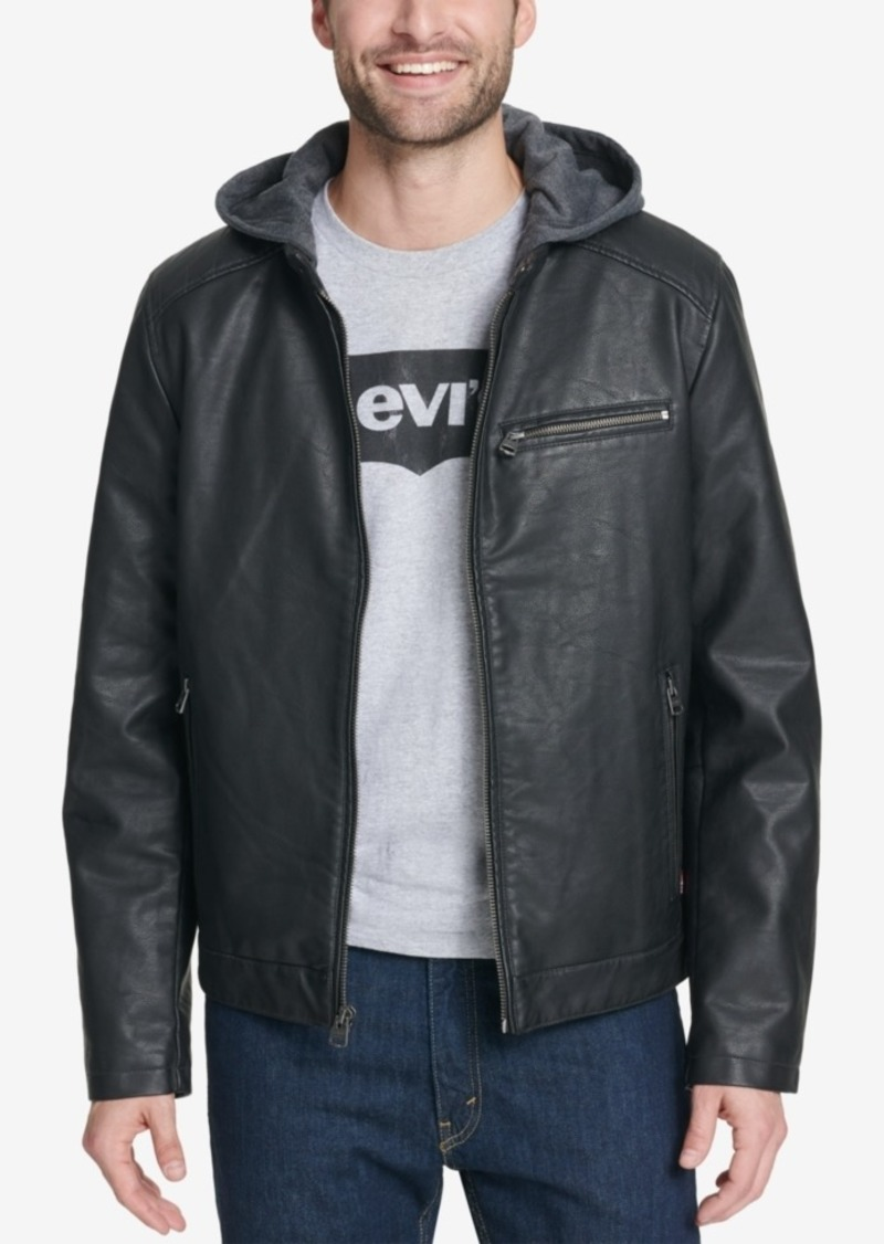 df818c8381f Men's Faux-Leather Hooded Jacket