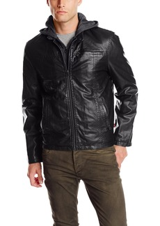 Levi's Men's Faux Leather Racer Hoody with Fleece Lining