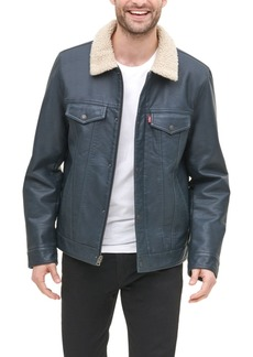 Levi's Men's Sherpa Lined Faux Leather Trucker Jacket