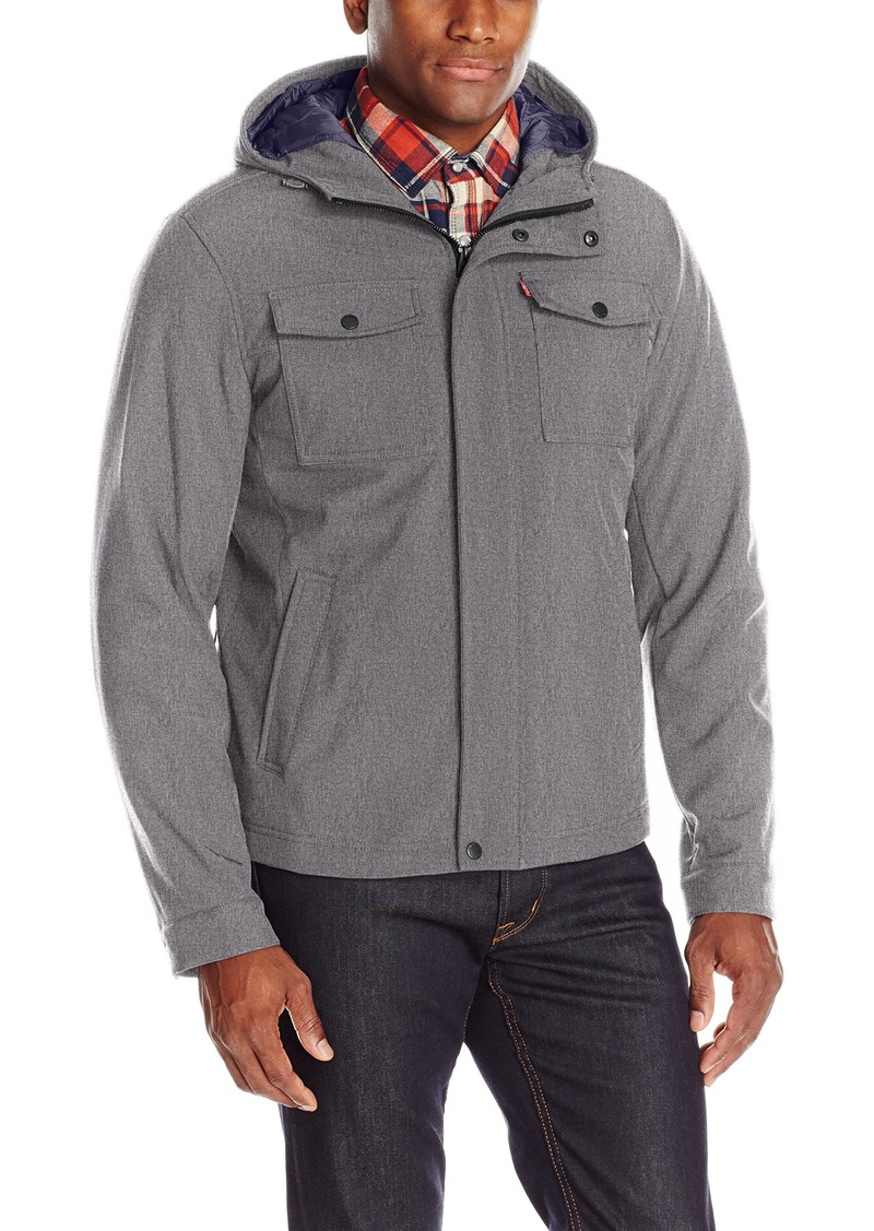 Levi's Men's Filled Soft Shell Two Pocket Double Hooded Trucker Jacket  XL