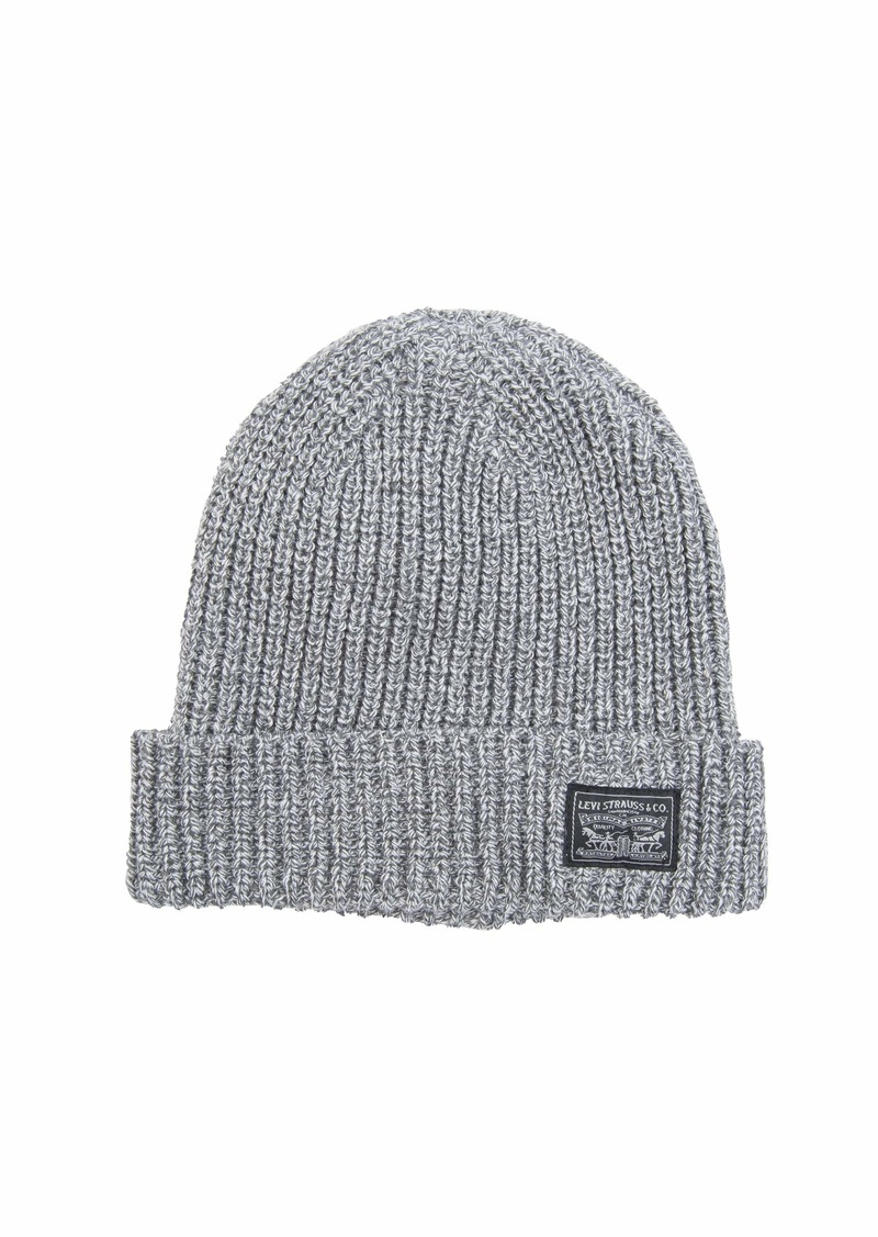 Levi's Men's Knit Cuff Beanie with Woven Label Grey