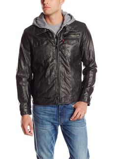 Levi's Men's Levs Faux Leather Two Pocket Trucker Hoody with Sherpa Lining