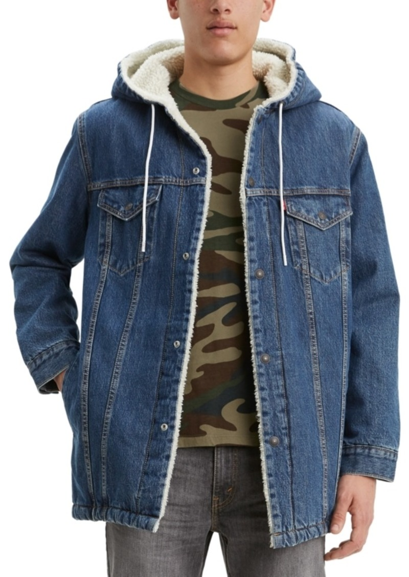 Levi's Men's Long Sherpa-Lined Hooded Trucker Jacket