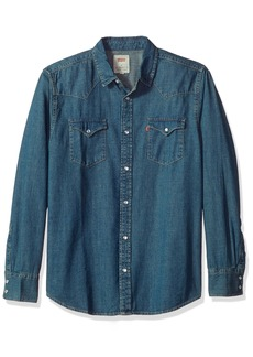 Levi's Men's Men's Standard Barstow Denim Western Snap-up Shirt Authentic Stonewash with Tint Extra Large