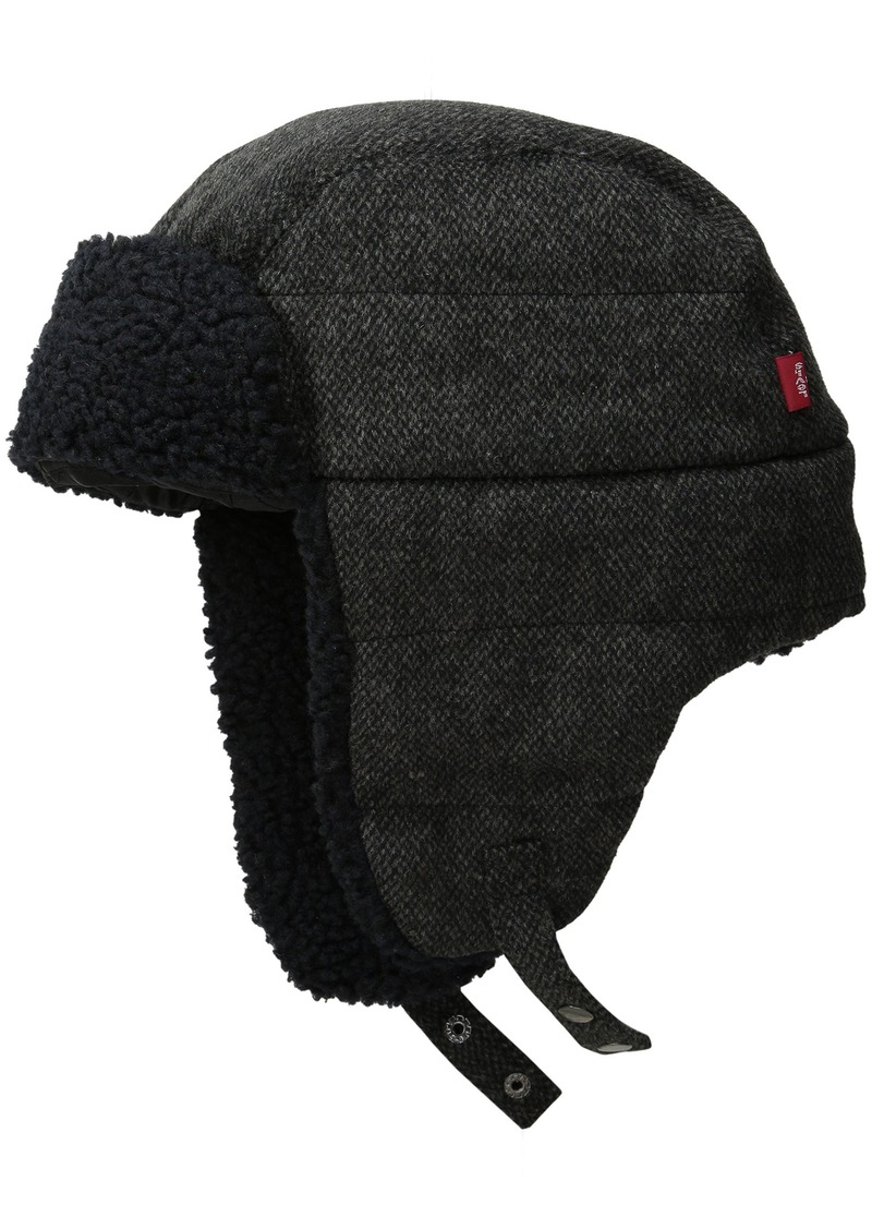 597437fe968 Levi s Men s Micro Box Pattern Two-Toned Sherpa Lined Snap Up Trapper Hat