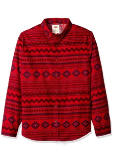 Levi's Men's Oswald Long Sleeve Printed Poplin Shirt red Dahlia