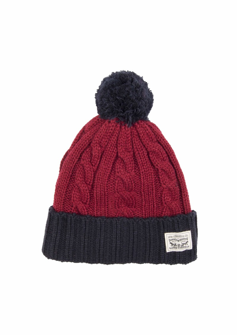 Levi's Men's Pompom Cable Beanie Hat red/Navy
