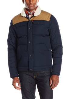 Levi's Men's Quilted Mixed Media Shirttail Workwear Puffer Jacket  S