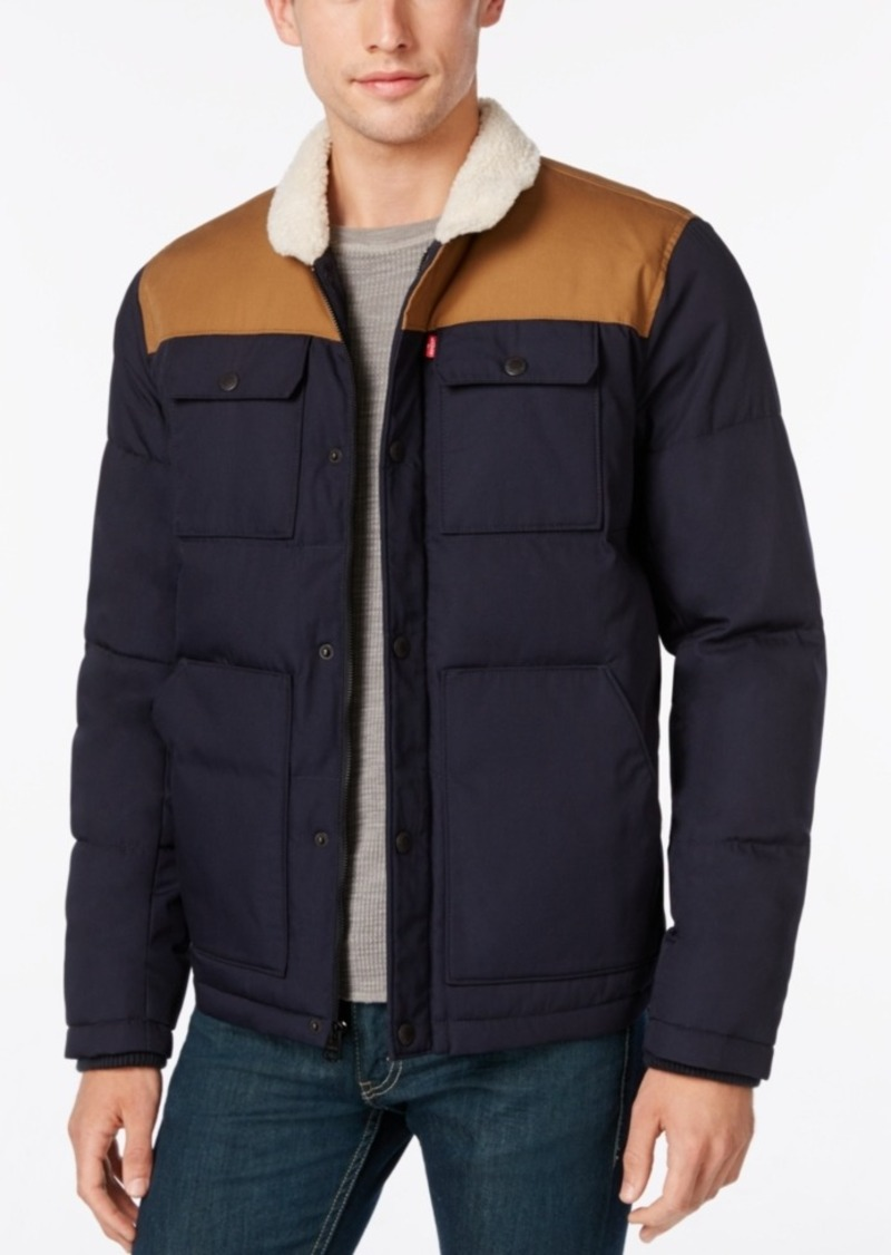 Levis Levis Mens Quilted Workwear Puffer With Faux Fur Collar Now