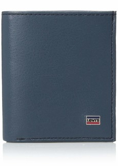 Levi's Men's Leather Minimalist Wallet - Front Pocket Card Case RFID Slim Thin Tactical ID Holder Sleeve for Men Travel Grey