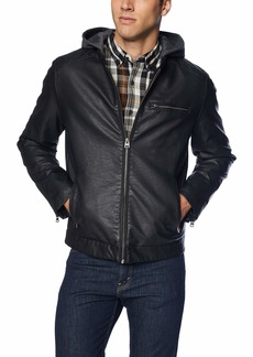 Levi's Men's Rugged Faux Leather Racer Jacket with Hood