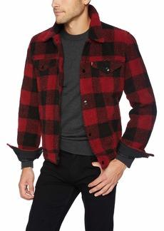 Levi's Men's Sherpa Trucker Jacket red Plaid