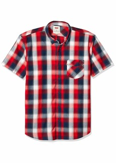 Levi's Men's Short Sleeve Woven Shirt Chinese Red/Vernon Plaid