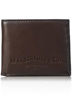 Levi's Men's Slim Bifold Wallet - Genuine Leather Casual Thin Slimfold with Extra Capacity and ID Window  One sizee