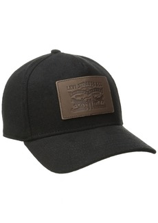 Levi's Men's Solid Melton Baseball Cap with Signature Leather Horse Black