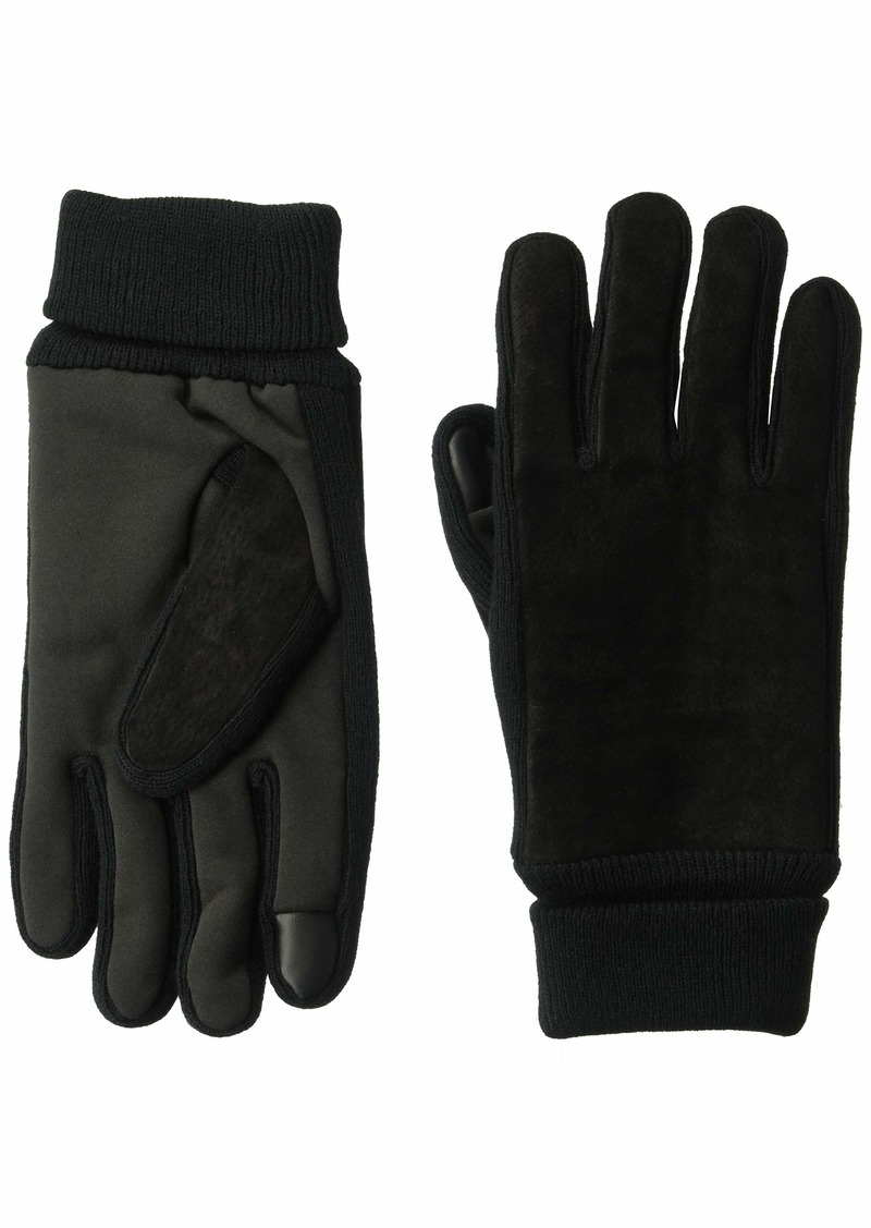 Levi's Men's Suede Gloves with Knit Grip and Touchscreen Capability black