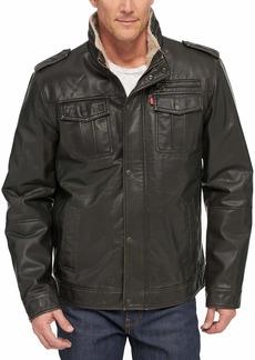 Levi's Men's Vintage Deer Faux Leather Sherpa Military Jacket