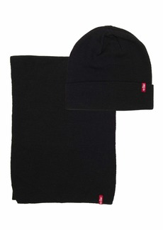 Levi's Men's Winter Warm Knit Beanie Hat and Scarf Set black