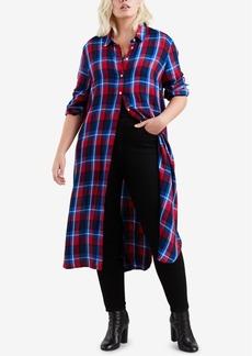 Levi's Plus Size Ceci Cotton Plaid Long Shirt