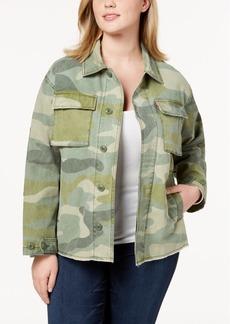 Levi's Plus Size Cotton Camo-Print High-Low Hem Jacket