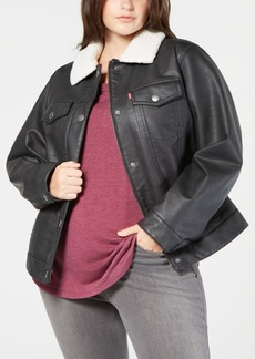 Levi's Plus Size Faux-Leather Fleece-Trimmed Trucker Jacket