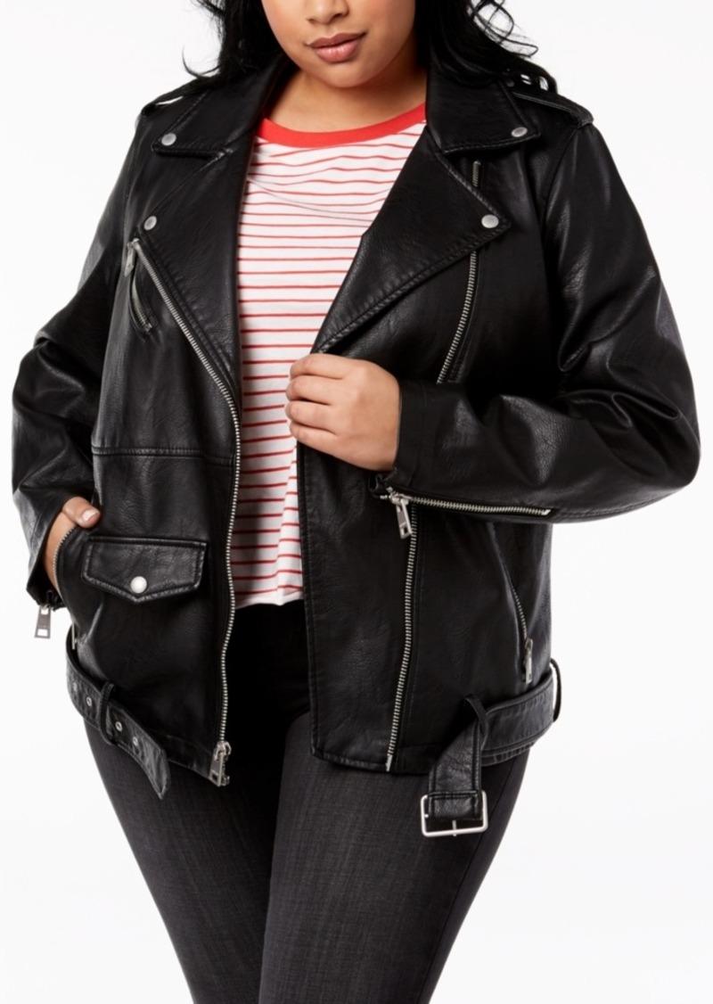 Levi's Trendy Plus Size Faux-Leather Oversized Moto Jacket