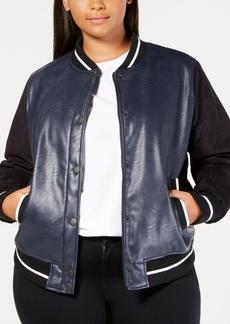 Levi's Plus Size Faux-Leather Varsity Bomber Jacket