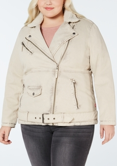 Levi's Plus Size Faux Sherpa-Lined Twill Moto Jacket
