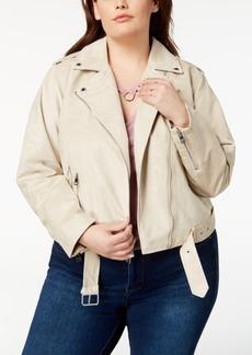 Levi's Plus Size Faux-Suede Belted Moto Jacket