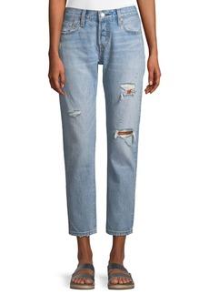 Levi's 501 Taper Light-Wash Distressed Straight-Leg Jeans