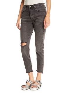 Levi's 501 Well Worn Skinny-Leg Cropped Jeans