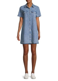 Levi's Premium Distressed Denim Button-Down Shirt Dress