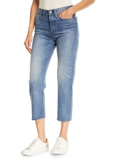 Levi's Premium Partners in Crime Wedgie-Icon Fit Straight-Leg Jeans w/ Raw-Edge Hem