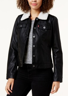 Levi's Sherpa-Collar Faux-Leather Trucker Jacket