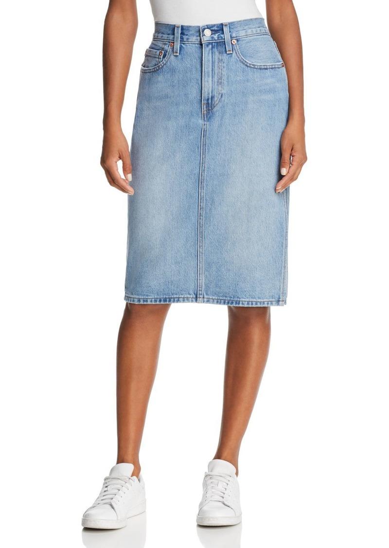 official site best deals on huge selection of Slit Denim Skirt in Blue Waves
