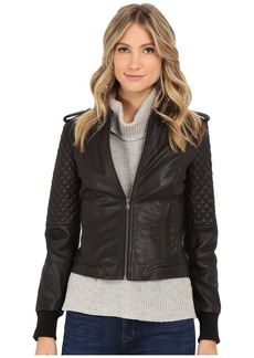 Levi's® Smooth Lamb Leather Asym Moto w/ Quilting Details