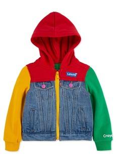 Levi's Little Girls Crayola Hooded Colorblocked Denim Trucker Jacket