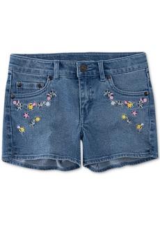 Levi's Big Girls Floral Embroidered Denim Shorts