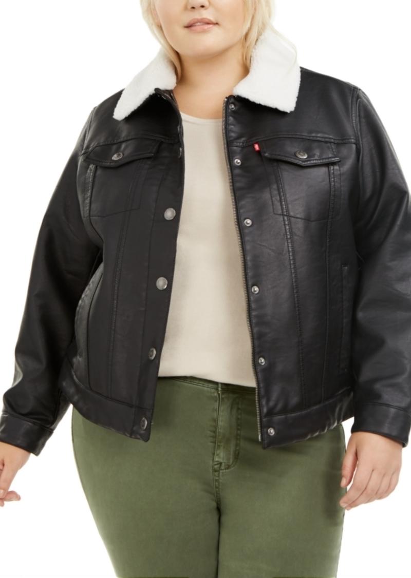Levi'sTrendy Plus Size Faux Leather Sherpa Lined Trucker Jacket